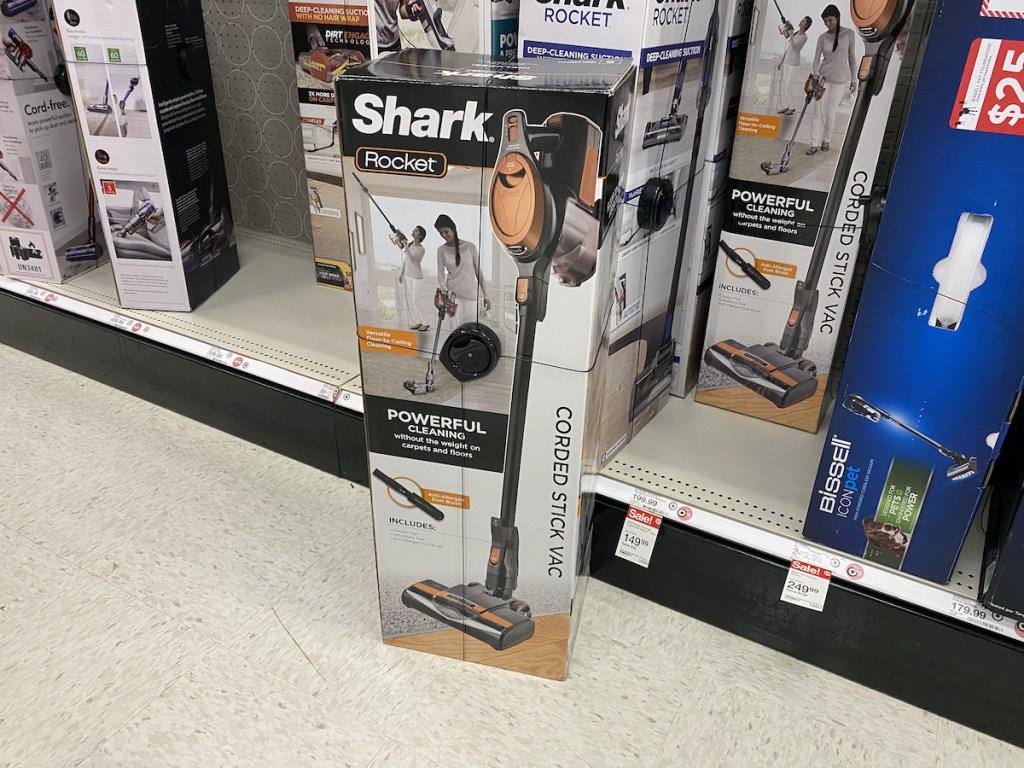 target aisle of Shark Rocket Ultra-Light Corded Stick Vacuum