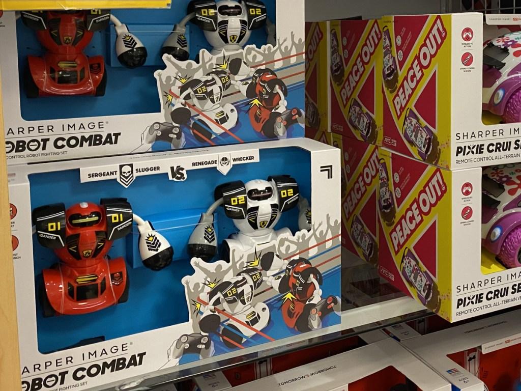 kids robot toy set on store shelf
