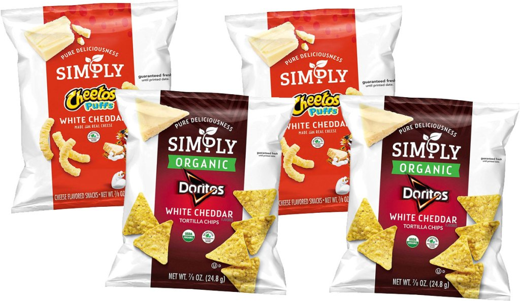 four individual sized bags of simply cheetos and doritos chips