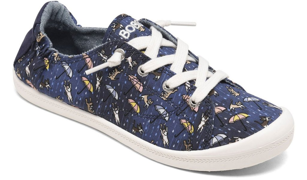 blue women's sneaker with raining cats and dogs print