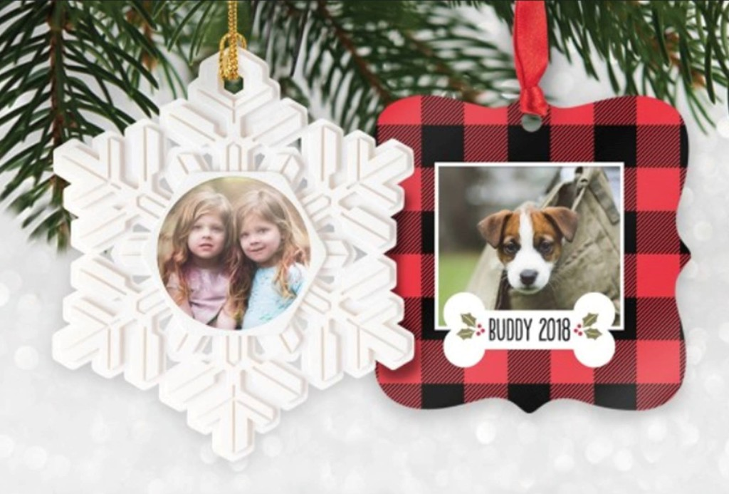 two personalized photo ornaments on a tree