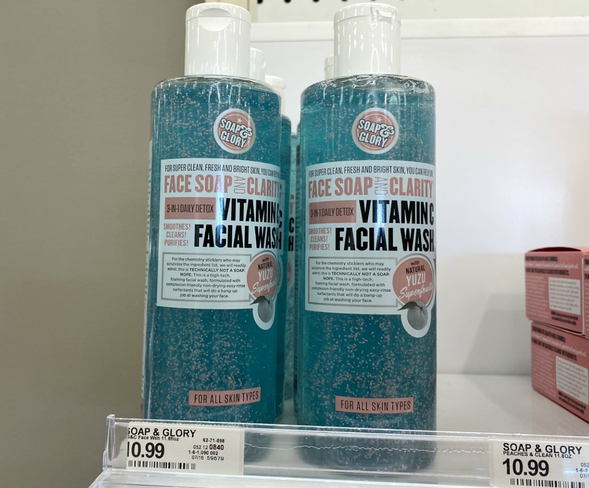 Two bottles of blue face wash on display in-store