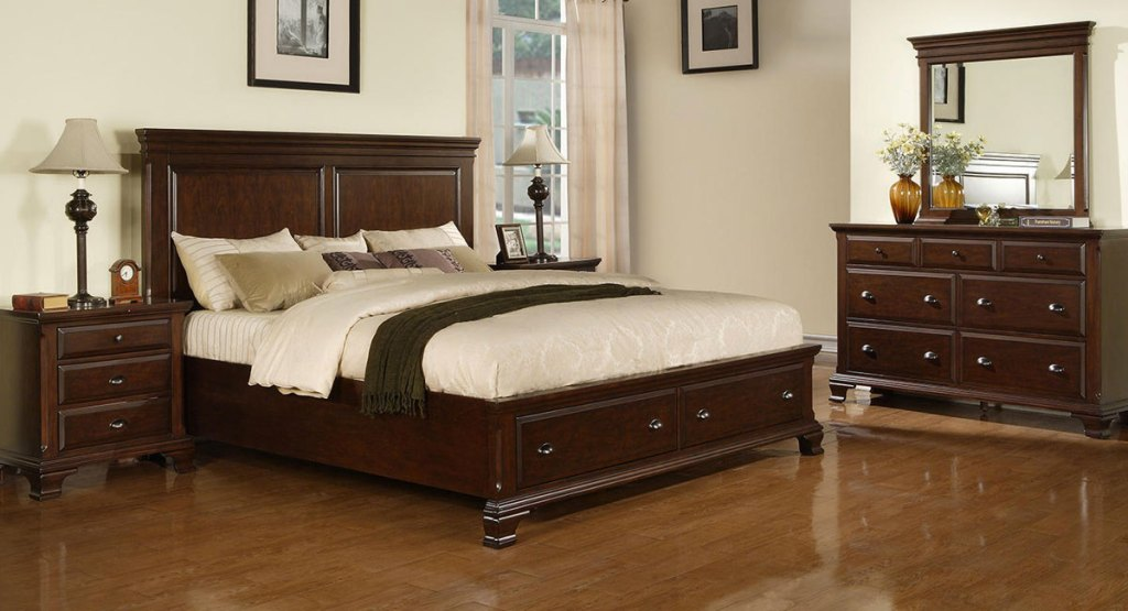 brown wood matching bedroom set with nightstand, bed frame and dresser in bedroom