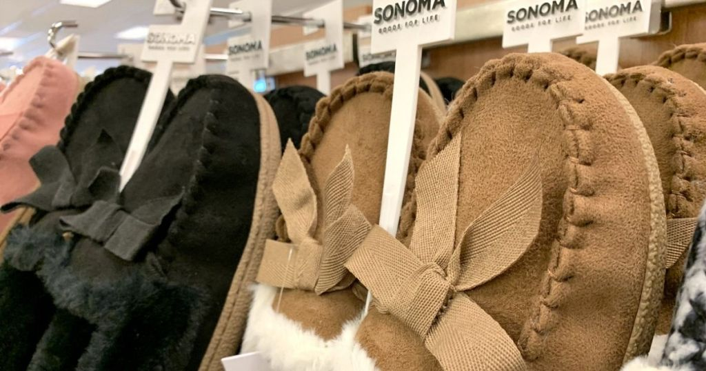 slippers on hangers at Kohl's