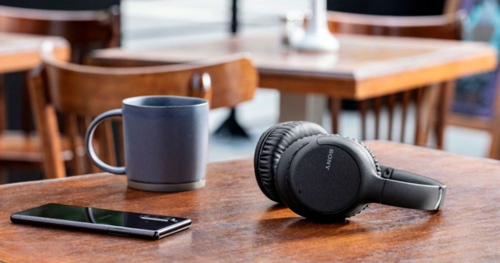 pair of headphones on a table