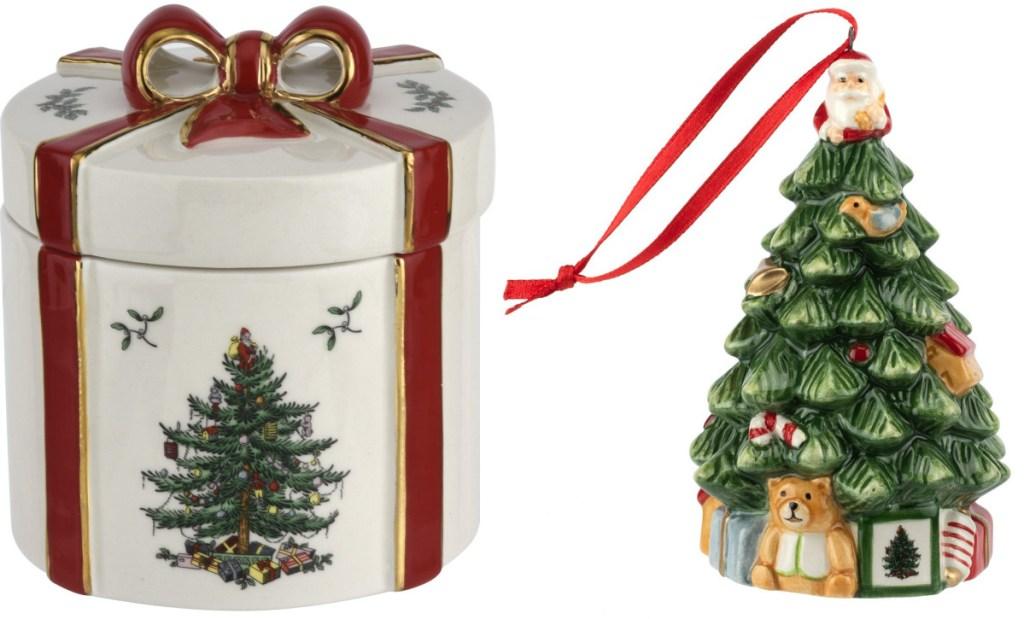 Christmas box and lid and christmas tree ornament