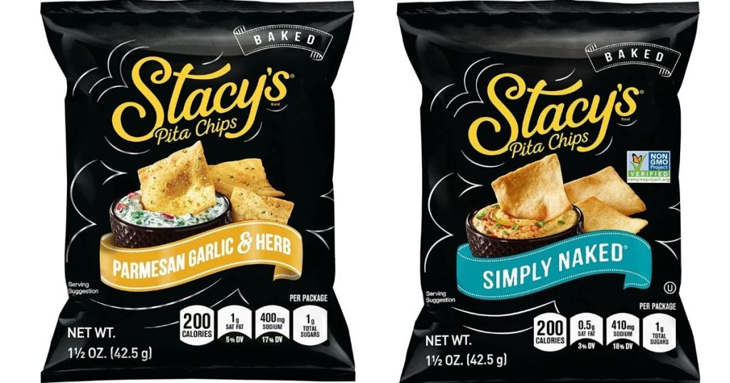 two bags of Stacys pita chips