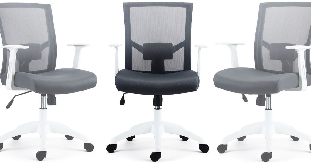 white with grey mesh rolling office chair