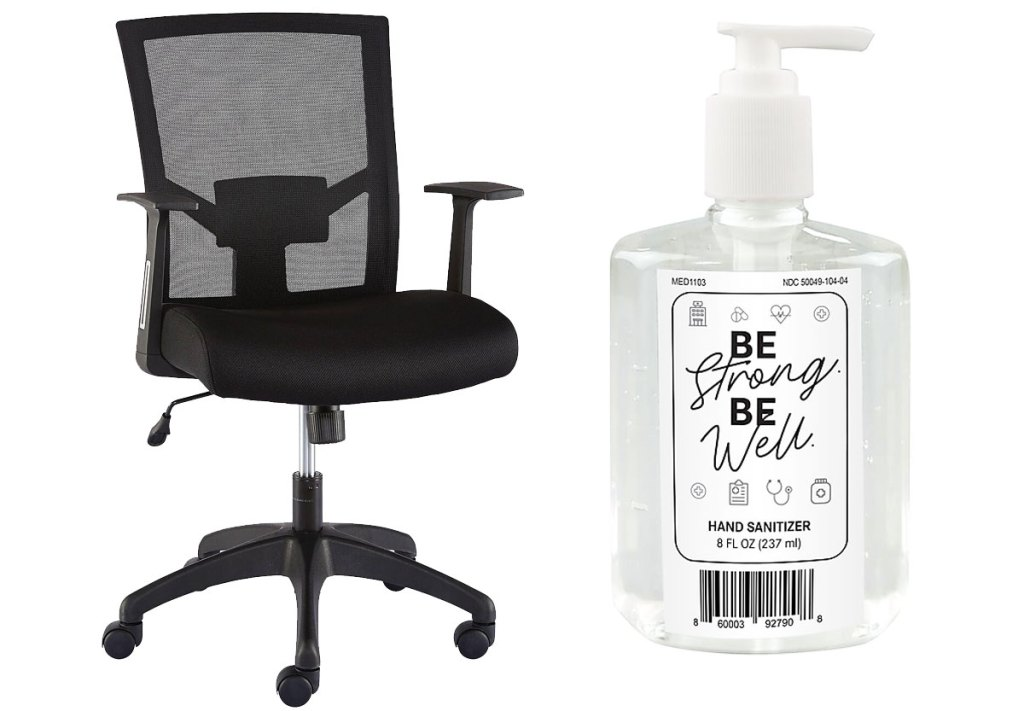 black mesh rolling office chair and clear bottle of hand sanitizer