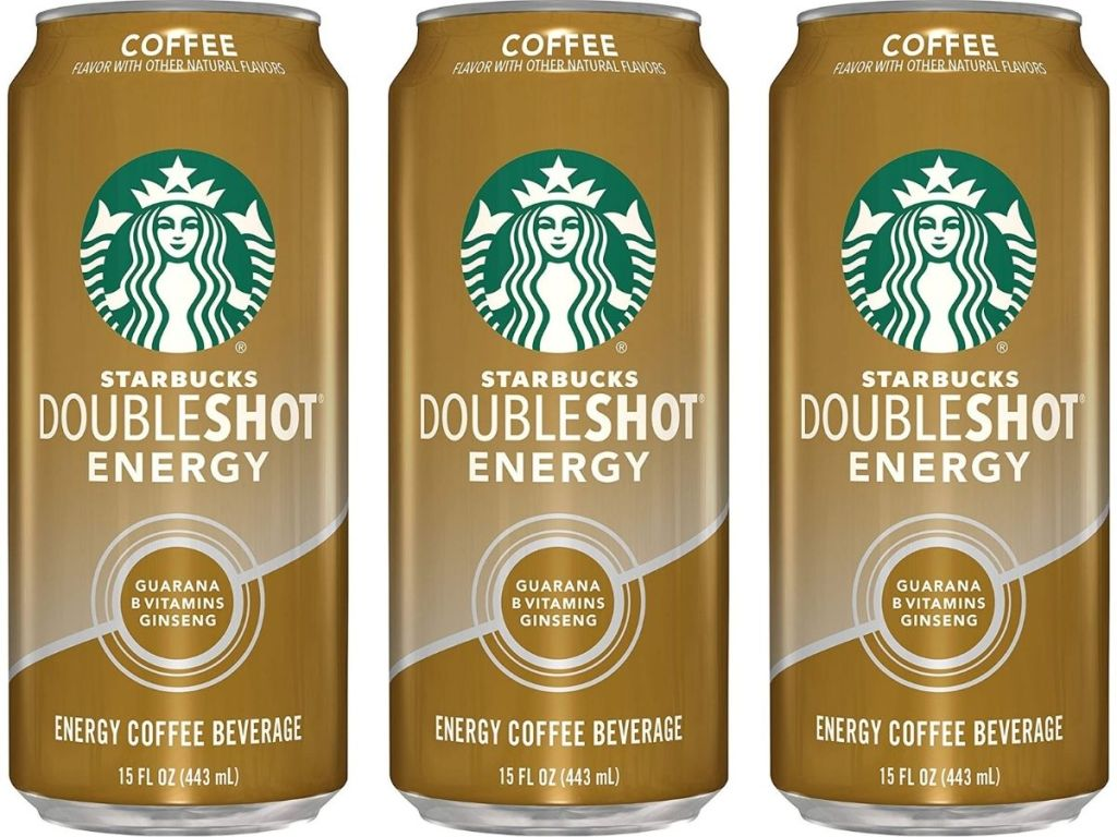 three Starbucks Doubleshot Energy in Coffee