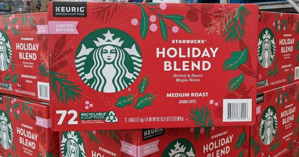 large box of Starbucks Holiday Blend coffee