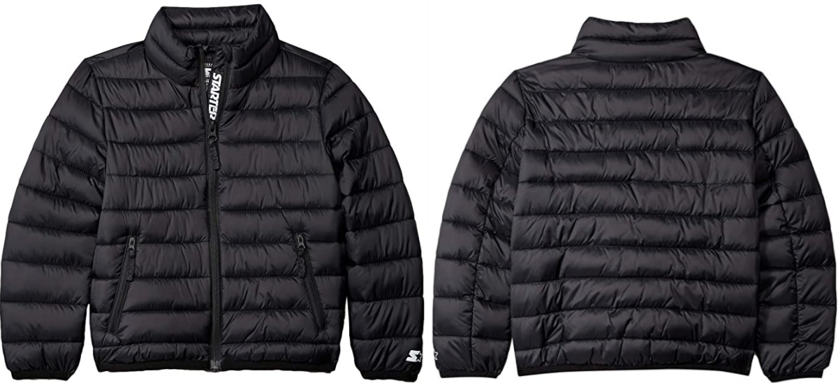 Front and back view of a girls jacket in black