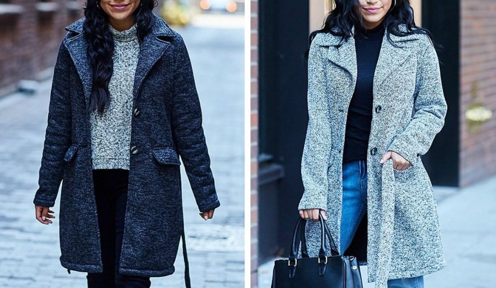women wearing Steve Madden Flannel Coats