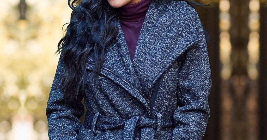 Woman Wearing Steve Madden Fleece Coat