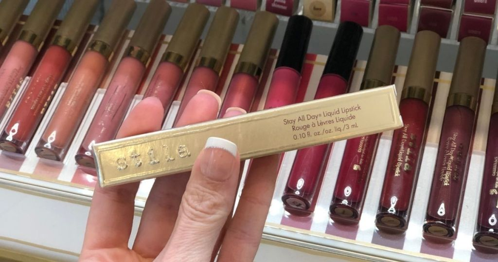 hand holding Stila Matte Liquid Lipstick in store