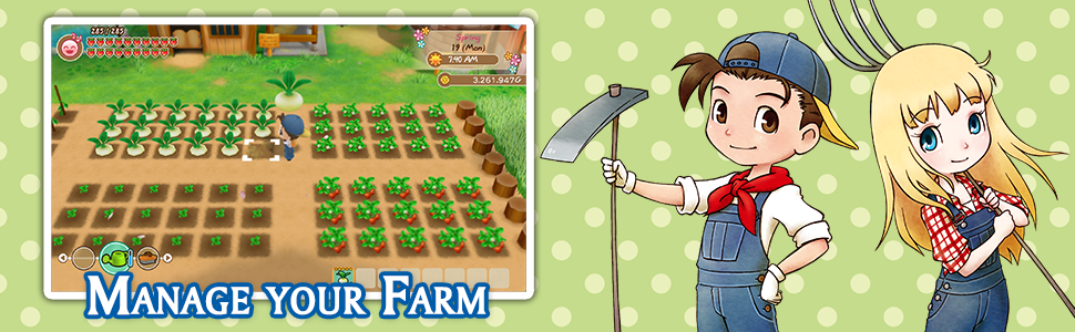 gameplay of Story of Seasons with characters next to image of gameplay