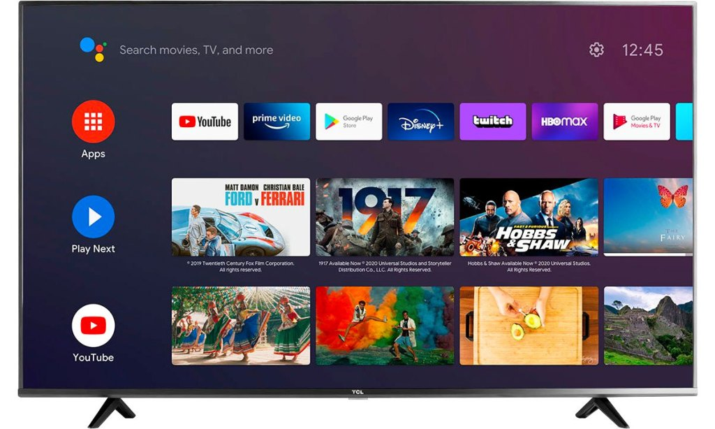 tcl tv with android home screen and streaming apps on screen