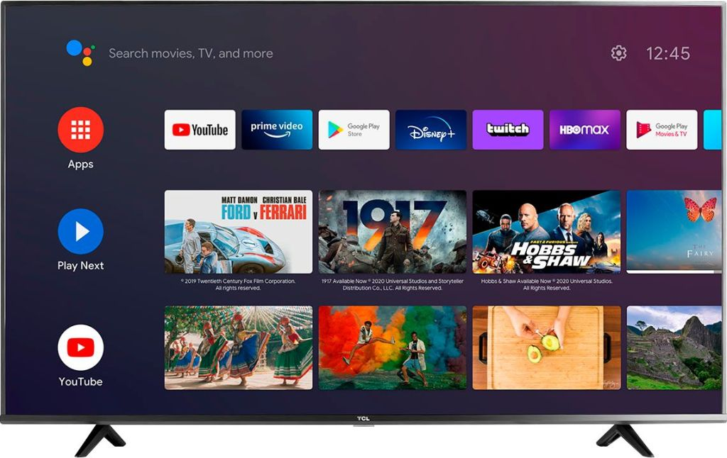 TCL UHD smart android TV with apps on home screen
