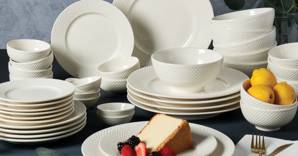 large 42-piece off-white dinnerware set