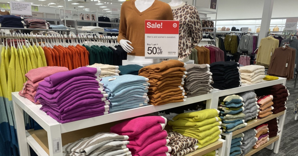 target shelves wth a huge display of sweaters