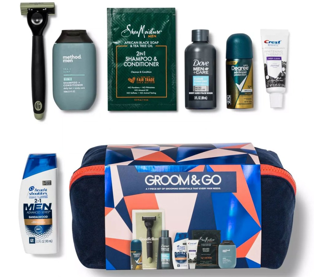 target men's beauty box with travel size grooming products