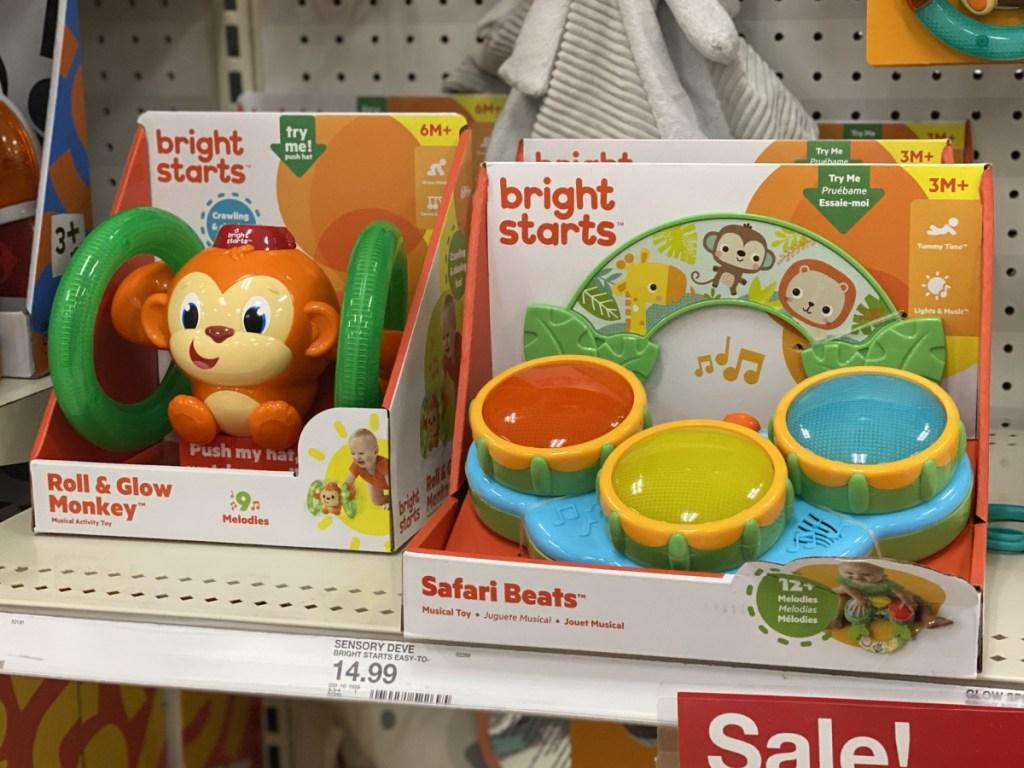 Bright Starts Infant Baby toys sitting on shelf at target