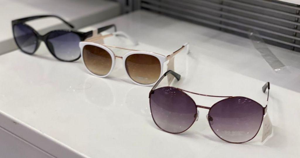 row of Target sunglasses on a shelf