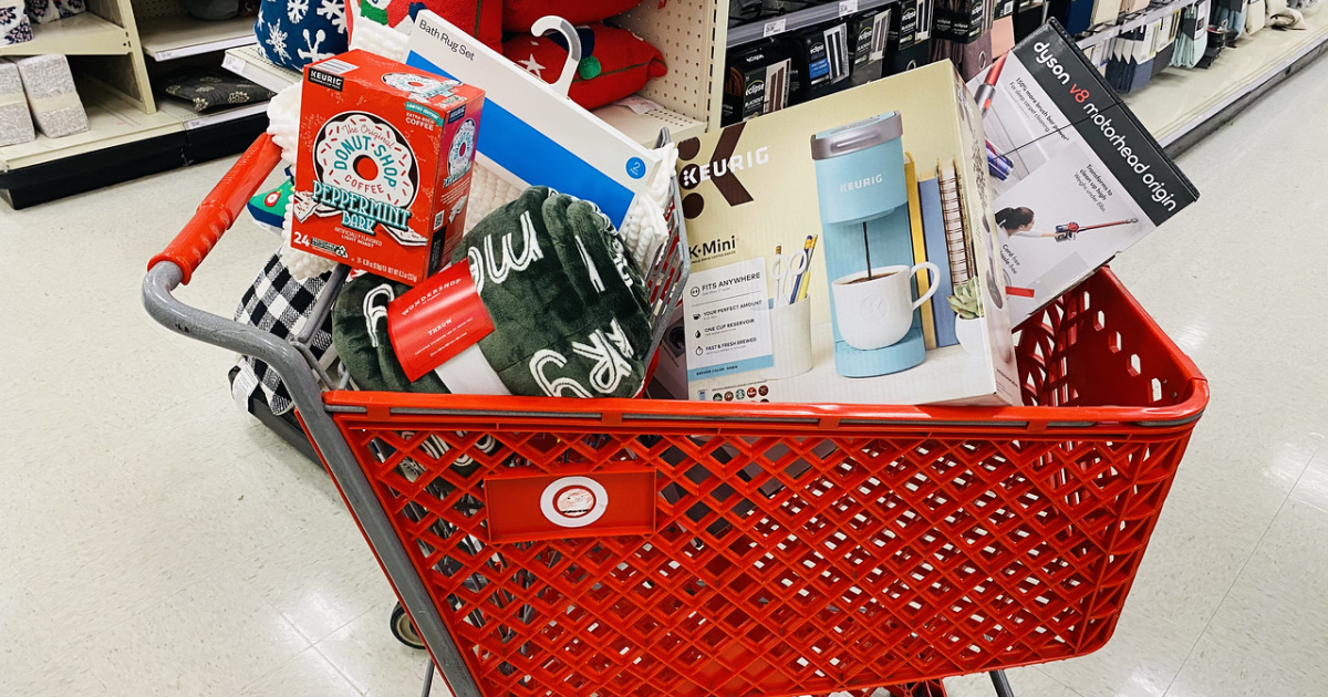Target shopping cart with gifts