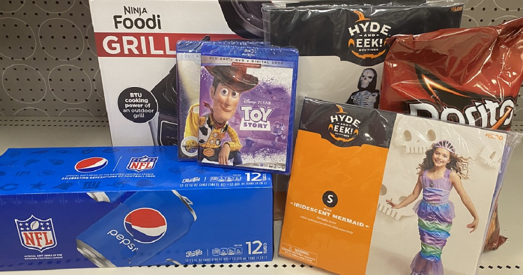Pepsi, Toy Story DVD, Kids costumes and Ninja foodi grill in a box