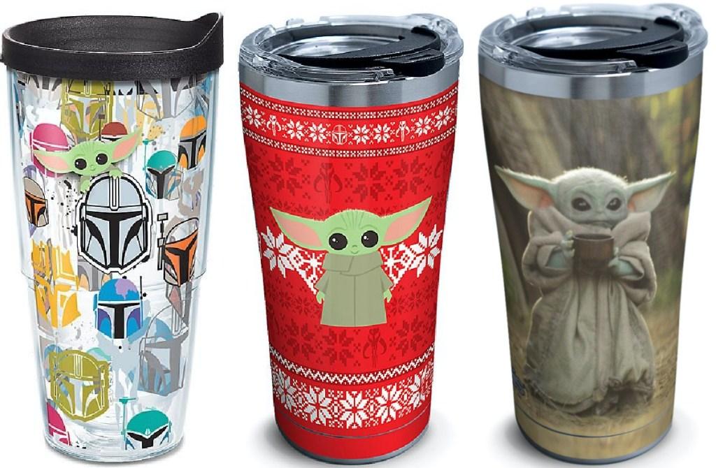 three Baby Yoda tumblers