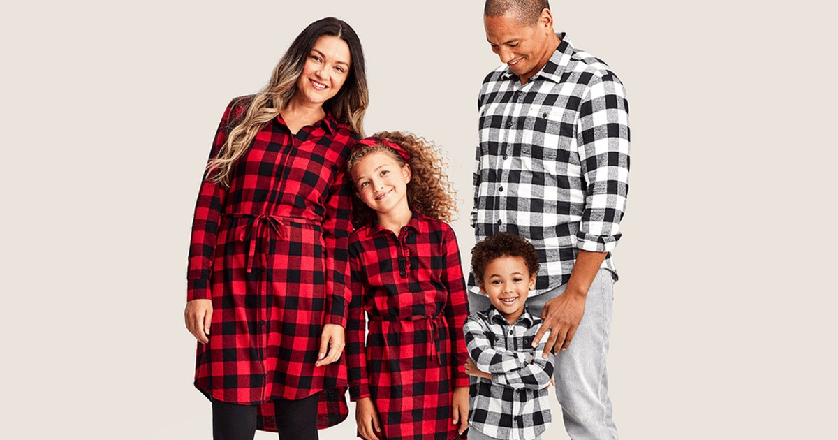 Family wearing matching outfits