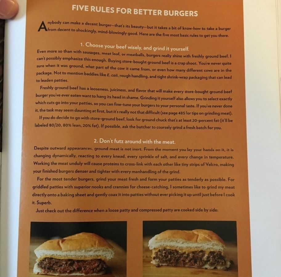 cookbook page showing tips on making burgers