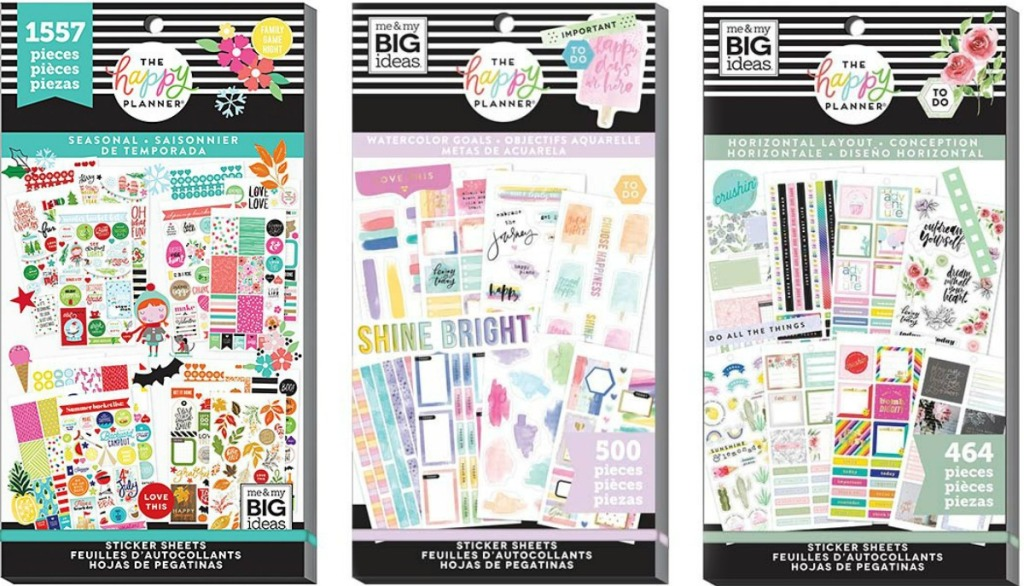 Three packs of stickers from The Happy Planner
