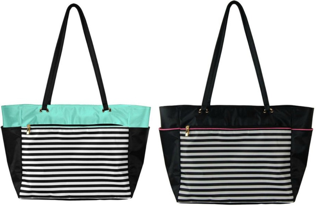 Two tote bags for storing planners and supplies n a stripe print
