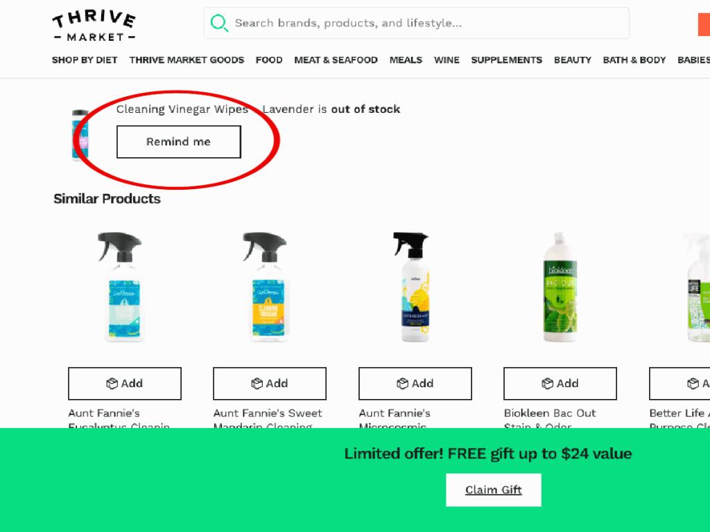 screen shot of Thrive Market Site