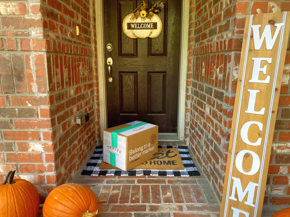 Thrive Market Box on door step