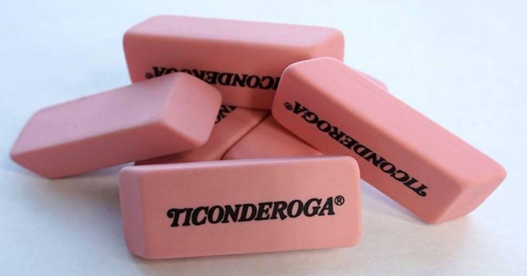 pile of Ticonderoga Pink Block erasers