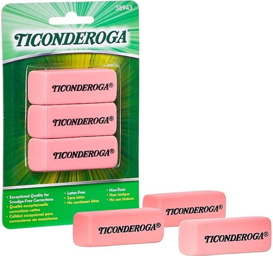 three pack of Ticonderoga erasers