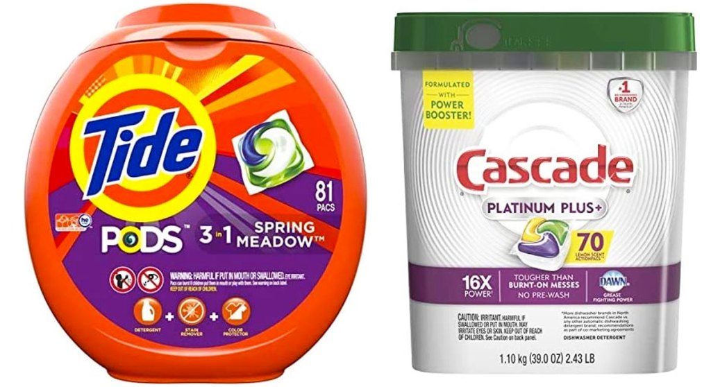 orange container of tide pods and silver container of cascade dishwasher pacs