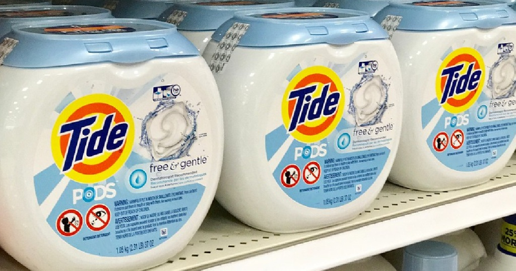 containers of laundry detergent pods on store shelf
