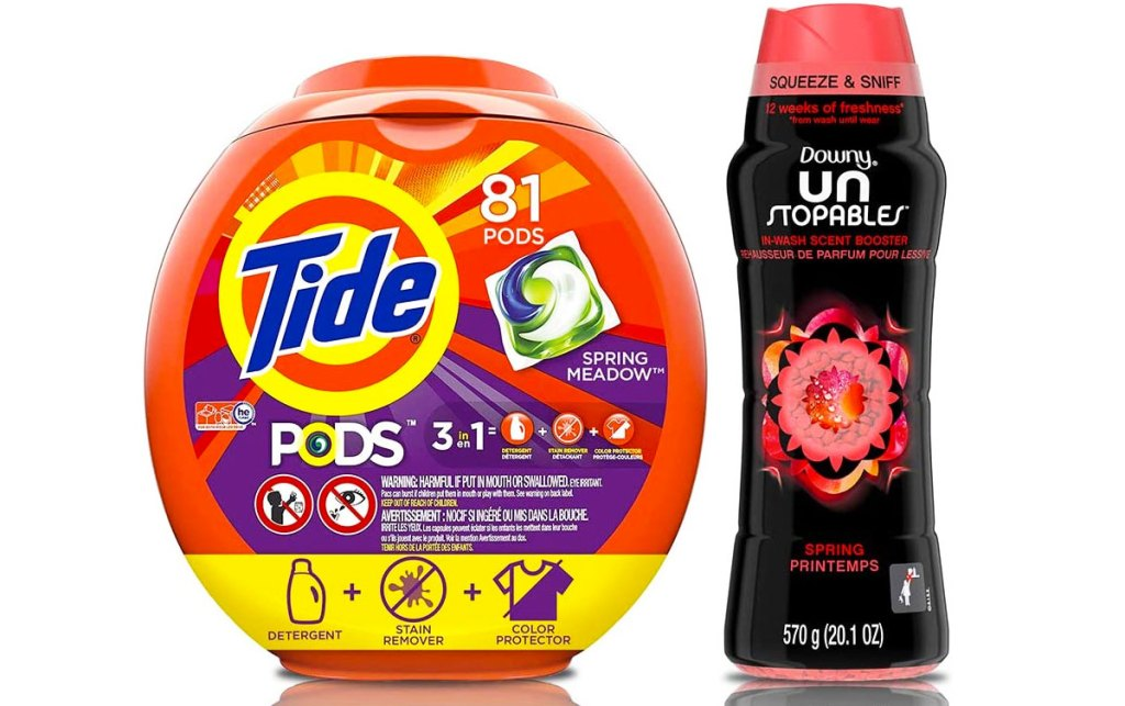 81-count container of tide pods and bottle of downy unstoppables scent booster beads