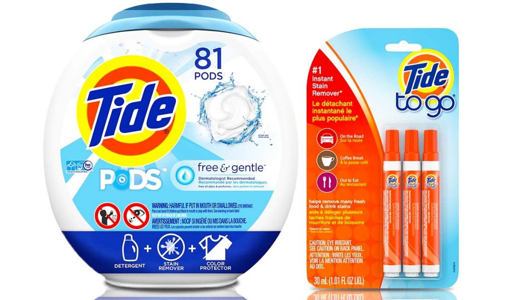81-count container of tide free & gentle laundry detergent pods and 3-pack of tide to-go stain remover pens