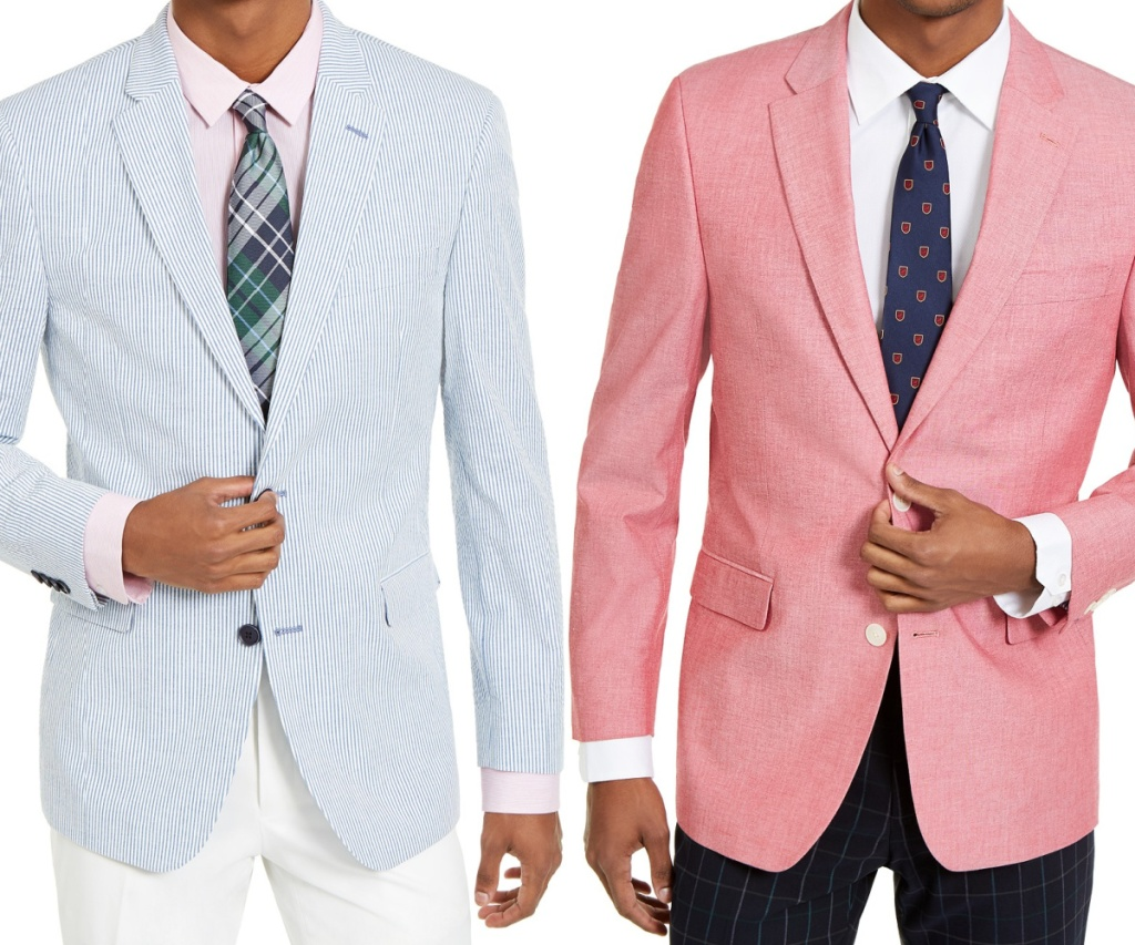 man in light blue striped sport coat and man in light red sport coat