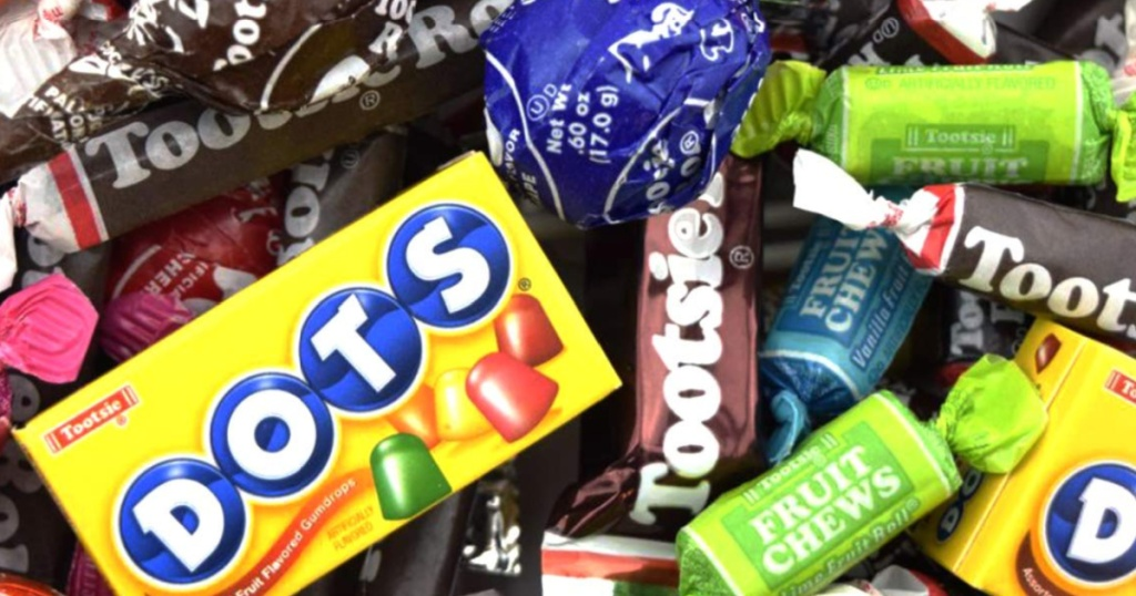 tootsie rolls and dots candies and fruit chews