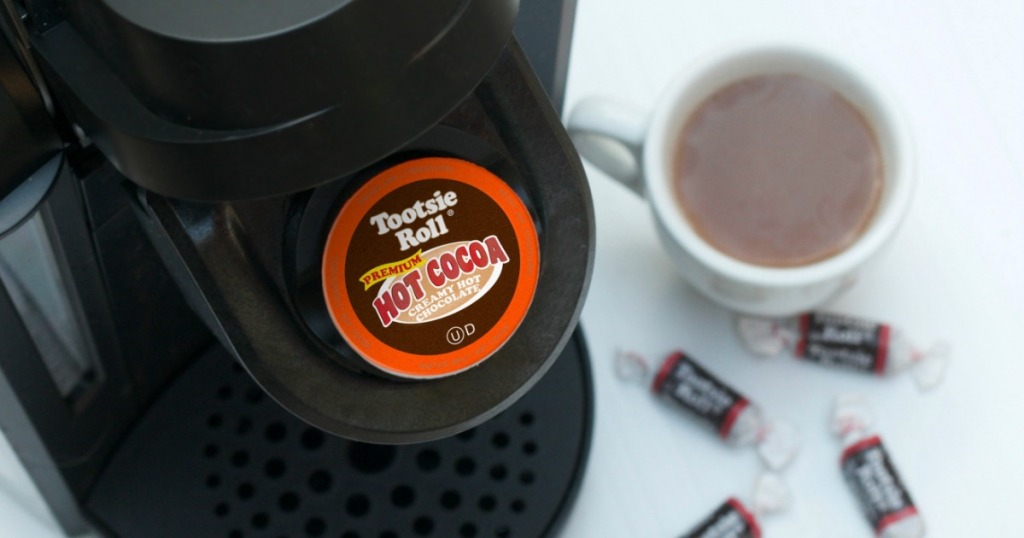 Tootsie Roll Hot Cocoa k-cup in a keurig