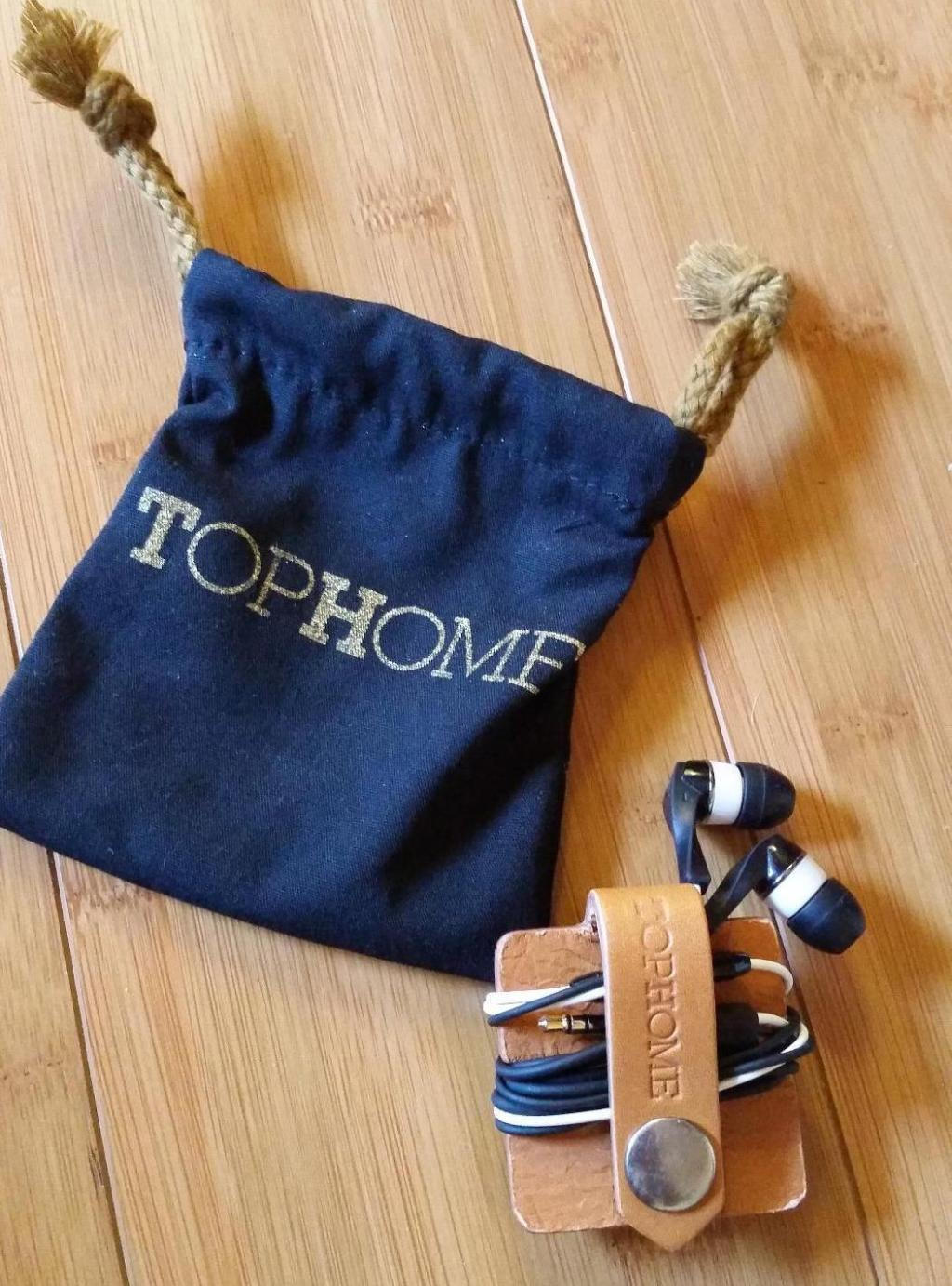 TopHome Earbud Holder shown with cloth sack
