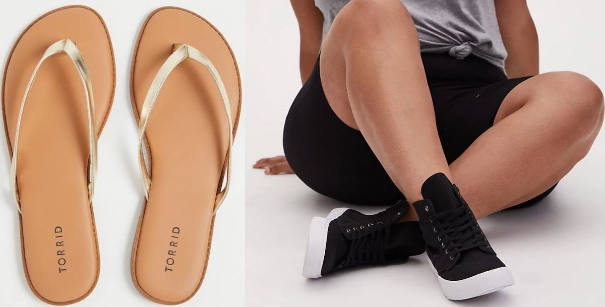 Womens Flip Flops and woman wearing high top canvas sneakers