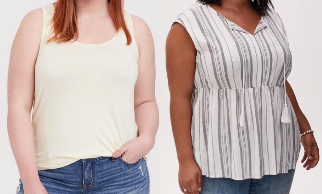 Two women wearing tank tops