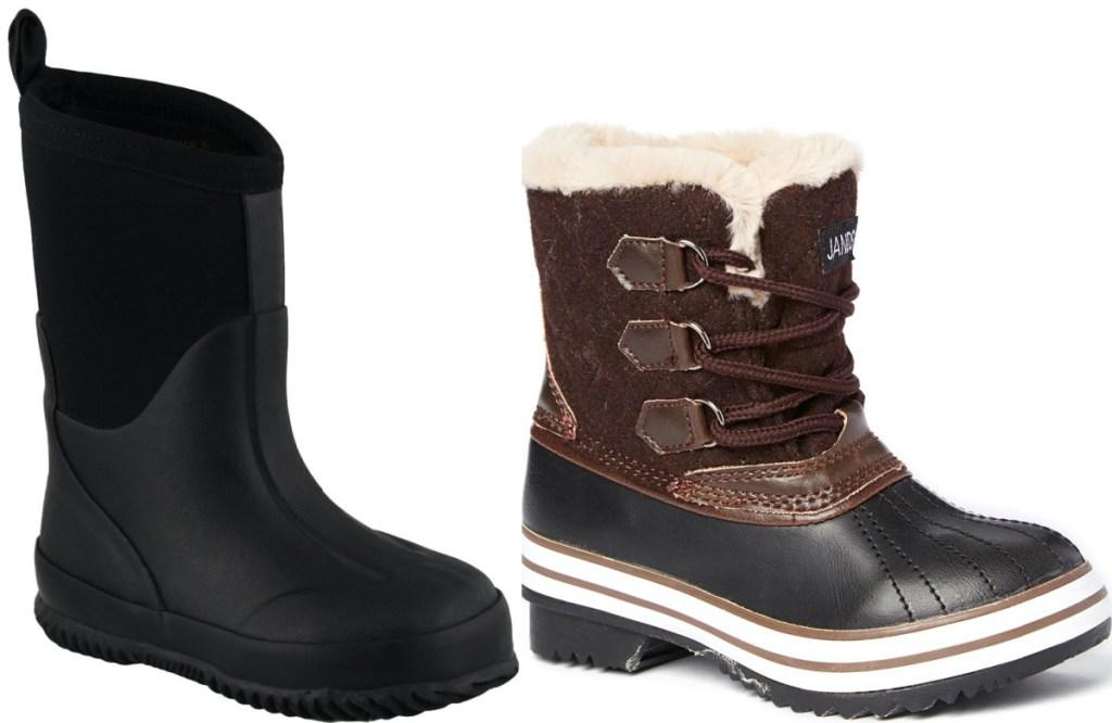 black kids rain boot and brown kids snow boot