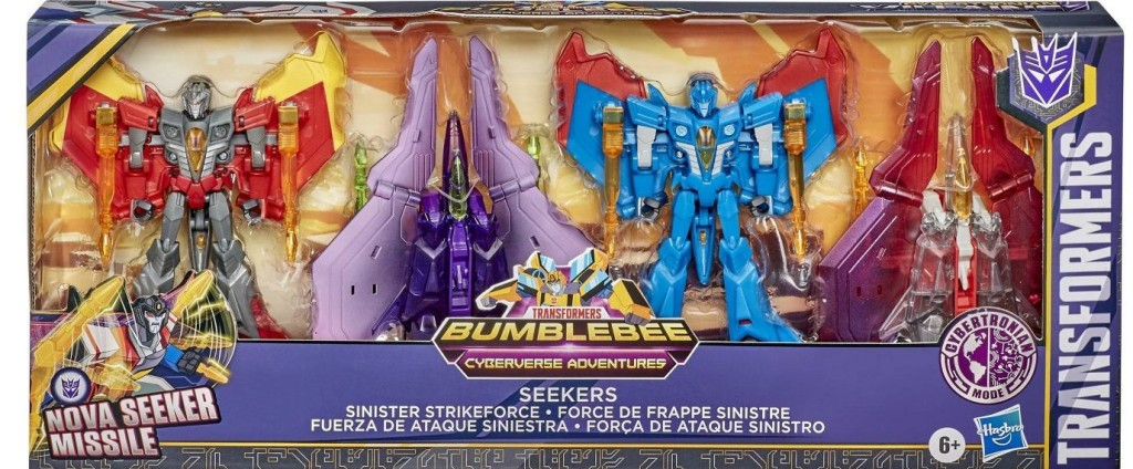 pack of four Transformers toys